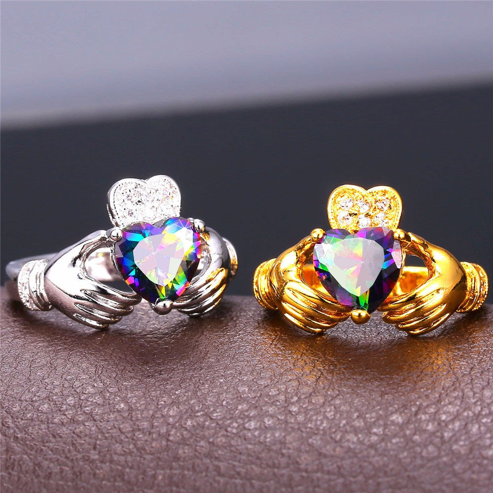 Heart Jewelry Claddagh Ring For Love Luxury Gold Color Wedding Bands Rings For Women R428