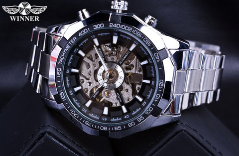Stainless Steel Casual Skeleton Watch