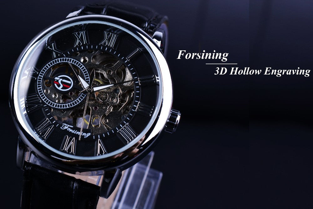 3D Literal Design Roman Number Black Dial Erkek Kol Saati Skeleton Watch