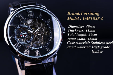 Image of 3D Literal Design Roman Number Black Dial Erkek Kol Saati Skeleton Watch