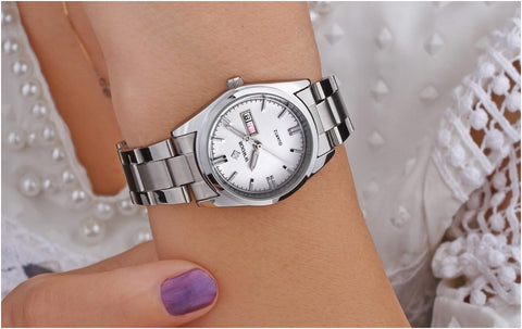 Image of Luxury Brand Women Watches Women Quartz Date Analog Clock Ladies Silver Stainless Steel Casual Wrist Watch Female Montre Femme