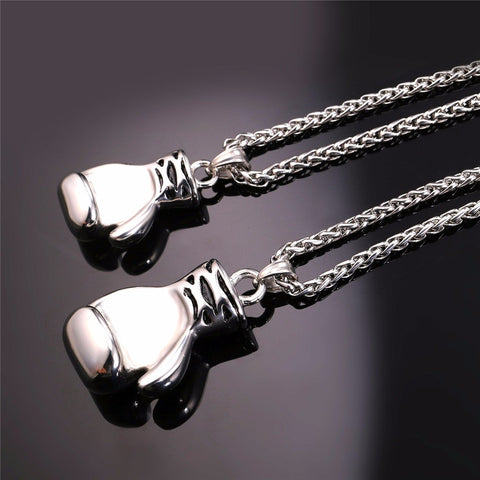 Image of Boxing Glove Necklaces & Pendants Gold Color Stainless Steel Fitness Sport Men Jewelry Sale P905