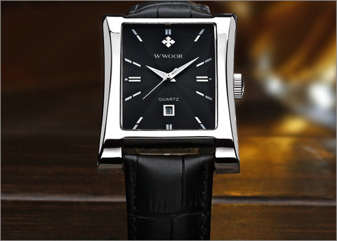 Men Watches Top Brand Luxury Glow Hour Date Square Clock Male Waterproof Casual Quartz Watch Men Leather Strap Sport Wrist Watch