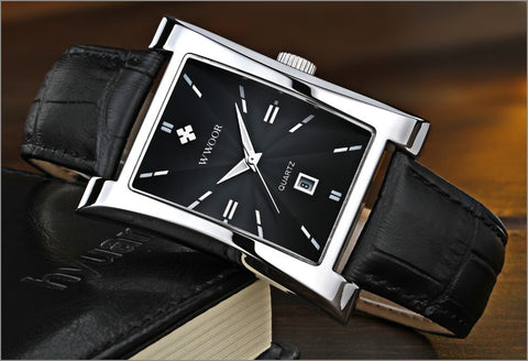 Image of Men Watches Top Brand Luxury Glow Hour Date Square Clock Male Waterproof Casual Quartz Watch Men Leather Strap Sport Wrist Watch
