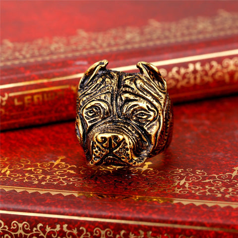 French Bulldog Punk Ring Men Trendy Fashion Jewelry Wholesale Gold Color Stainless Steel Ring For Men Jewelry R411