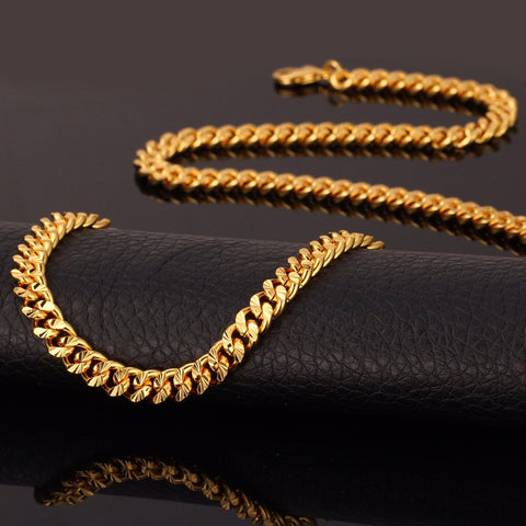 Image of Dubai Gold Color Necklace Set With Party Jewelry Wholesale Cuban Chain Necklace Bracelet Men Jewelry Set S577