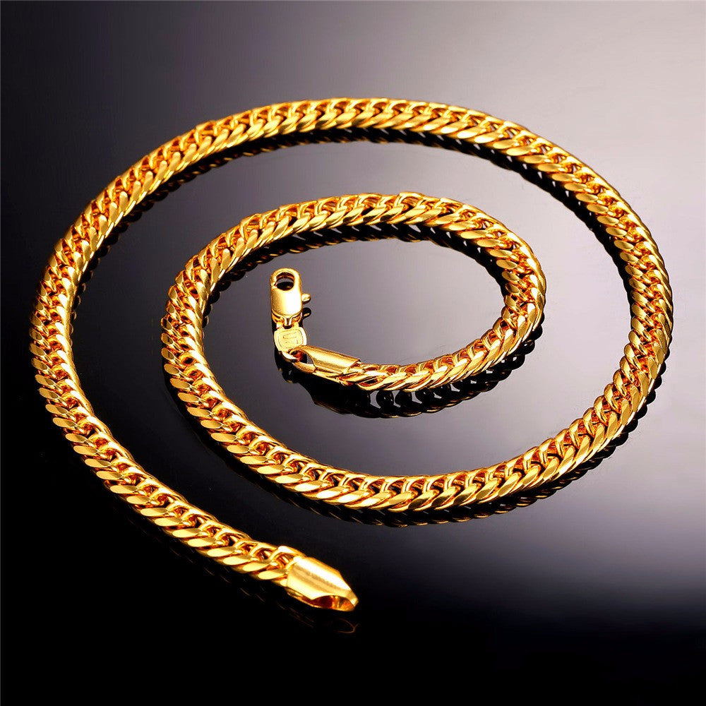 Brand Classic Jewelry Gold Color Venitien Chain For Men Party Gift Trendy 6mm Width choker/Long Necklace Hip Hop Style N389