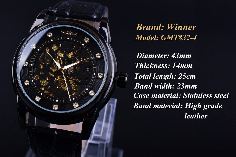 Orologio Uomo Design Black Golden Skeleton Watch