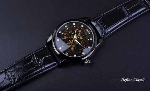 Image of Orologio Uomo Design Black Golden Skeleton Watch