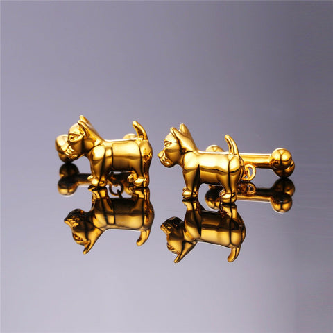 Image of New Cute Dog Cufflinks For Mens Fashion Jewelry Trendy Gold/Silver Color Bones Cuff Links Animal Jewelry C024