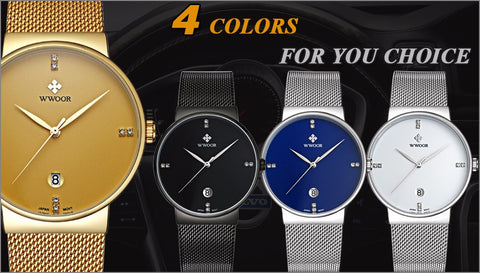 Image of Brand Luxury Date Waterproof Quartz Watch Men Casual Sport Watches Male Black Stainless Steel Watch Slim Clock relogio masculino