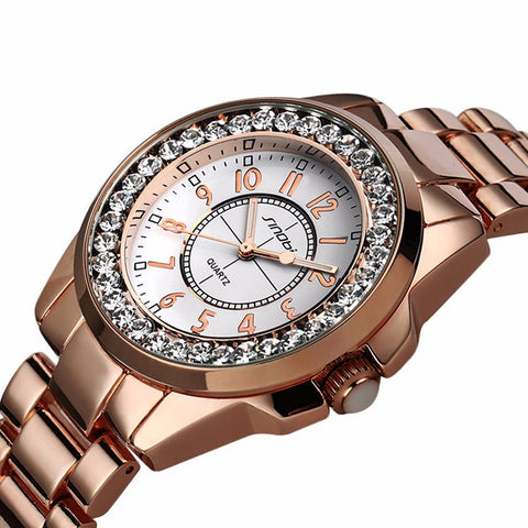 Image of Luxury Dress Brand Fashion Watch Woman Ladies Gold Diamond relogio feminino Dress Clock female relojes mujer 2016 New