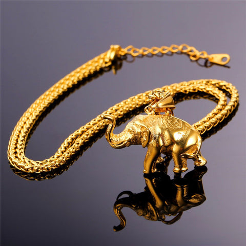 Image of Stainless Steel Gold Color Elephant Necklace Trendy Men Jewelry Charm Pendant & Chain Animal Lucky Jewelry Gift P755