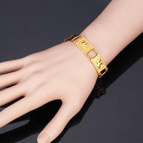 Image of Elephant Pattern Gold/Silver Color Unisex Fashion Jewelry 19 cm Link Chain Trendy Animal Chain & Link Bracelets H483