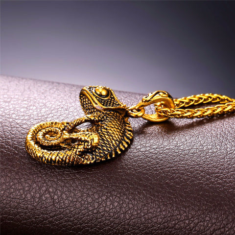 Image of Statement Necklace For Men Chain Kpop Jewelry Gold Color Stainless Steel Chameleon Dragon Animal Necklaces & Pendants P594