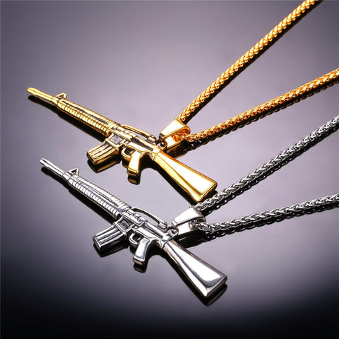 Image of American Style Punk Rock Jewelry Men Women Pendant Necklace Gold Color Stainless Steel Machine Gun Necklace P732