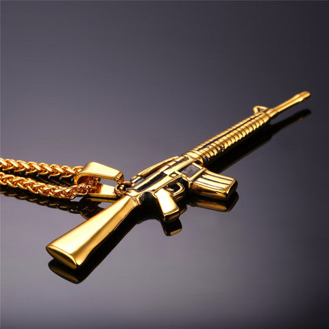 American Style Punk Rock Jewelry Men Women Pendant Necklace Gold Color Stainless Steel Machine Gun Necklace P732