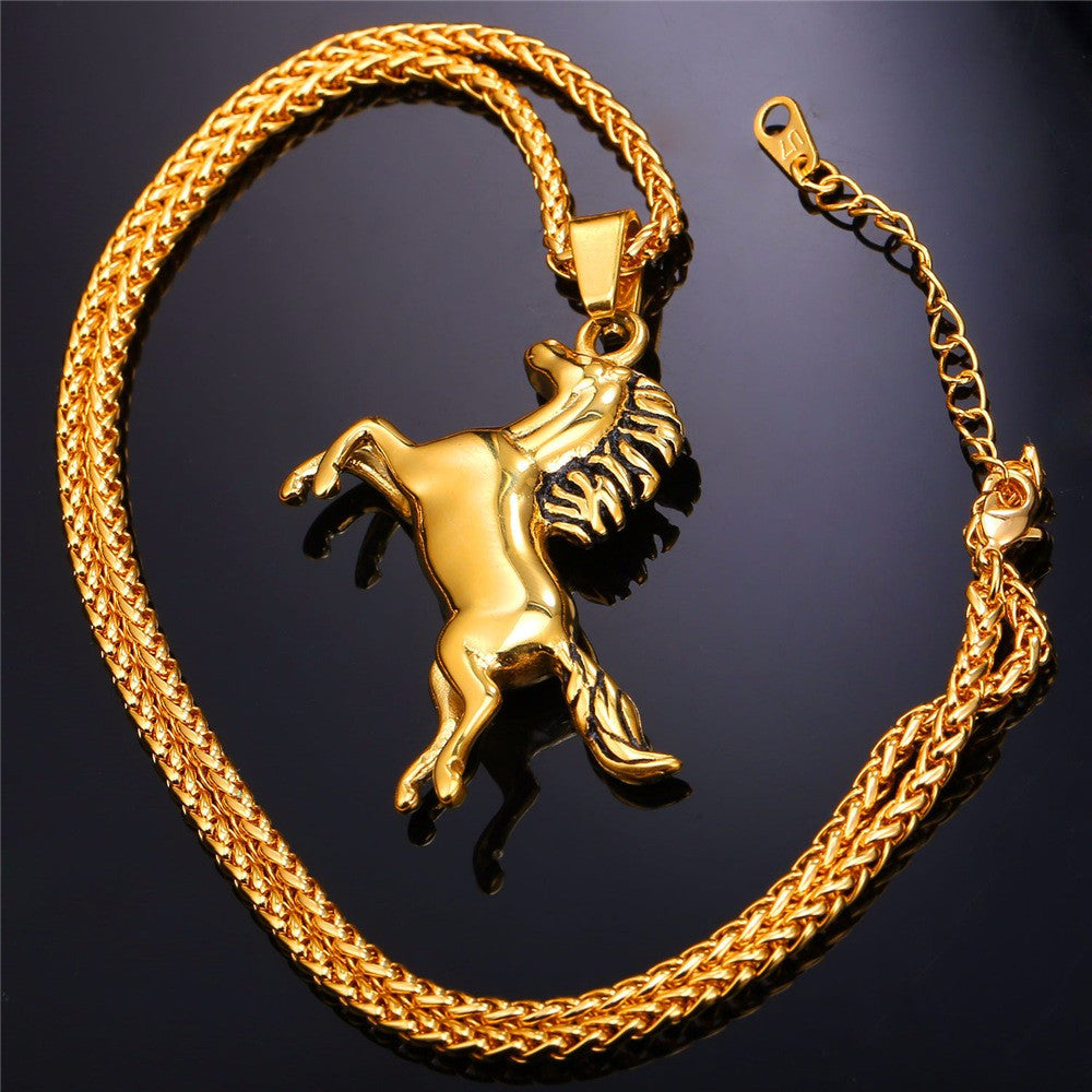 Horse Necklaces & Pendants For Men/Women Hip Hop Jewelry Gold Color Stainless Steel Chain Animal Charm Necklace Sale P753