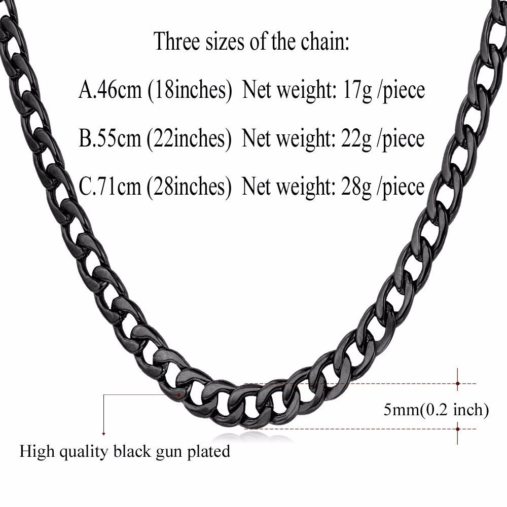 "Cuban Gold Color Chain For Men Hip Hop Jewelry Wholesale 6MM 18"" 22"" 28"" Black Stainless Steel Curb Chain Necklace N396"