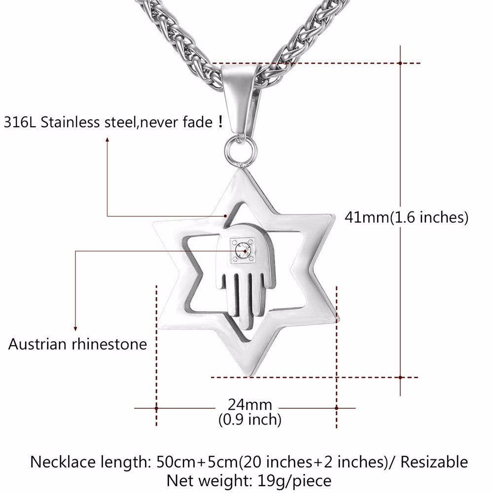 Crystal Star of David Pendant For Women Men Jewelry Gold Color Stainless Steel Charms Hamsa Hand Lucky Necklace P912