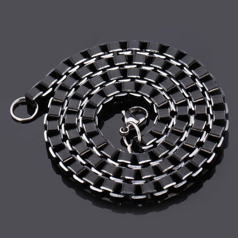 Stainless Steel Jewelry Sets Black Box Link Chain For Men Jewelry Fashion High Quality Necklace Set Bracelet Men S649