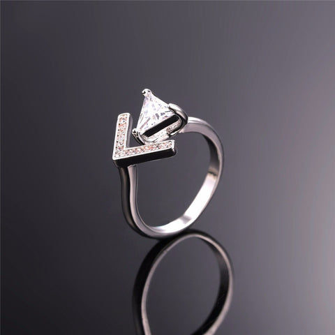 Image of New V-Shaped Triangle Cubic Zirconia Opening Cuff Rings For Women Jewelry Gold Color Trendy Wedding Ring Wholesale R439