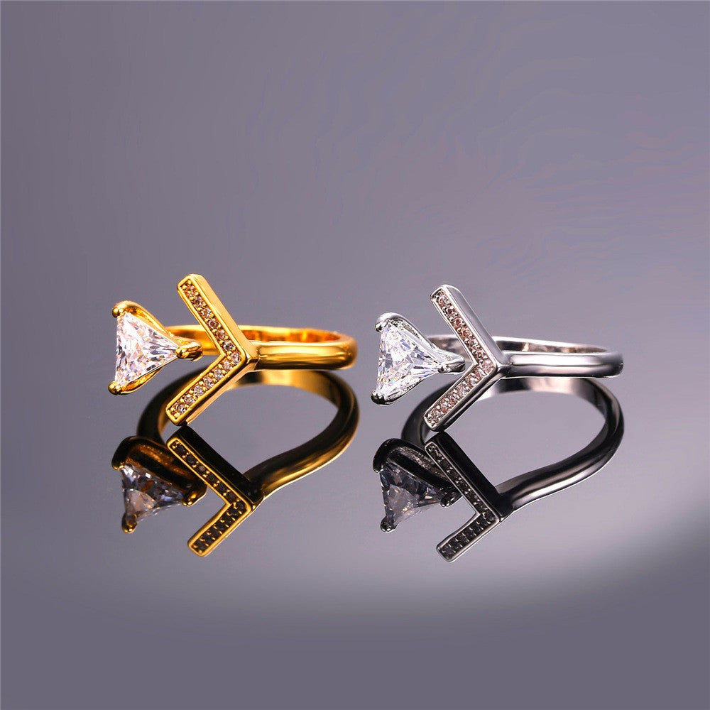 New V-Shaped Triangle Cubic Zirconia Opening Cuff Rings For Women Jewelry Gold Color Trendy Wedding Ring Wholesale R439