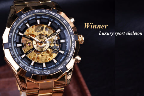 Image of Automatic Luxury Golden Skeleton Watch