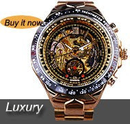Automatic Luxury Golden Skeleton Watch