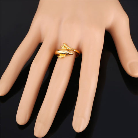 Fashion Dolphin Bands Ring For Women Gold Color Guardian Of Love Femme Wedding Engagement Rings
