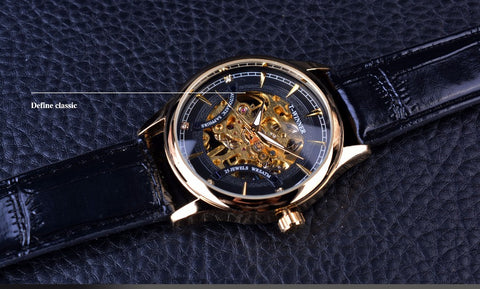 Image of Black Golden Star Luxury Design Skeleton Watch