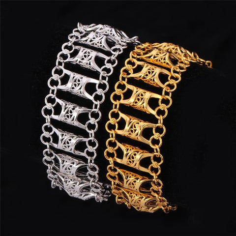 Unique Design Hollow Bracelet For Men/Women Gold Color Vintage Big Link Chain Bracelet Fashion Jewelry H569