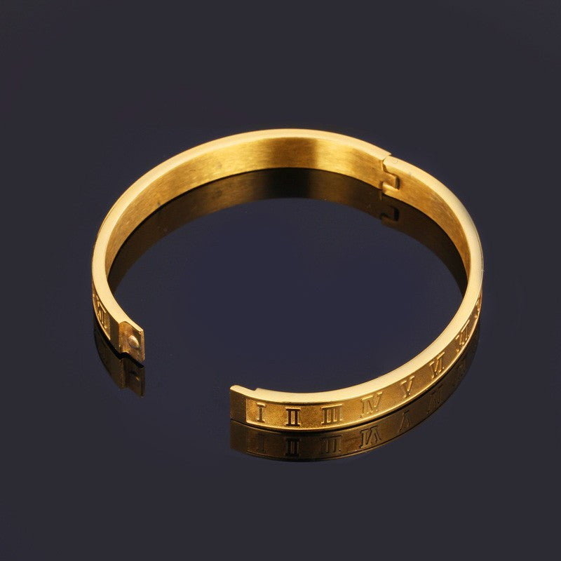 Roman Numerals Vintage Bangle Gold/Silver Color 316L Stainless Steel Women Men Jewelry Bracelet Bangle Wholesale H478