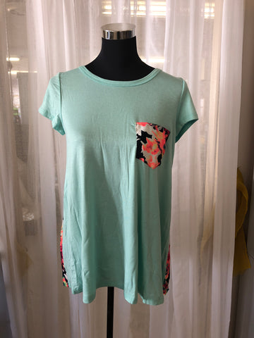 Mint Top with Floral Back and Pocket