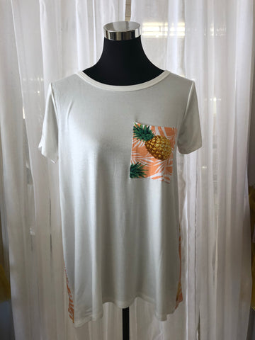 Pineapple Print Pocket & Back Tee