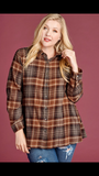 Curvaceous Plaid Shirt with Velvet Back