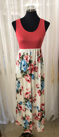 Solid and Floral Maxi Dress