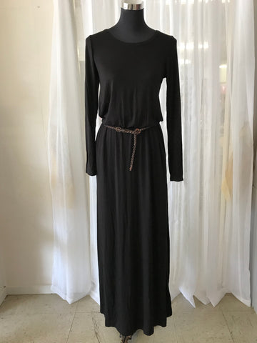Long Sleeve Black Maxi Dress