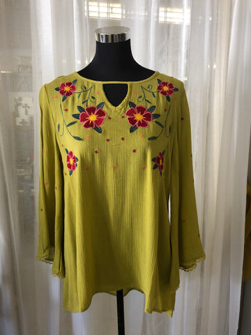 Lime Embroidered Top