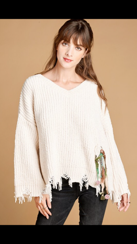 Cropped Sweater with snipped trim