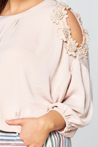 Flower Trim Cold Shoulder Blouse