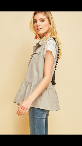 Grey Vest with Embroidery Back