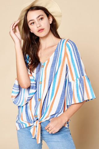 Curvaceous Blue and Orange Stripe Tie-Front Top
