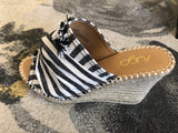 Natural & Black Stripe Wedge