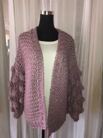 Knotted Sleeve Sweater Cardigan