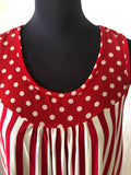 Red & White Stripes and Polka Dot Top