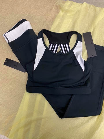 Black & white color-block sports bra