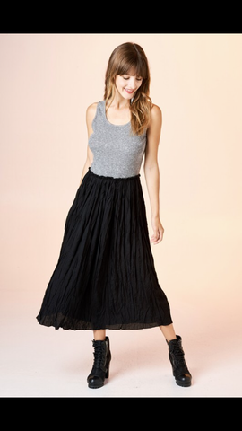 Ribbed Tank Dress with Crinkle Woven Skirt