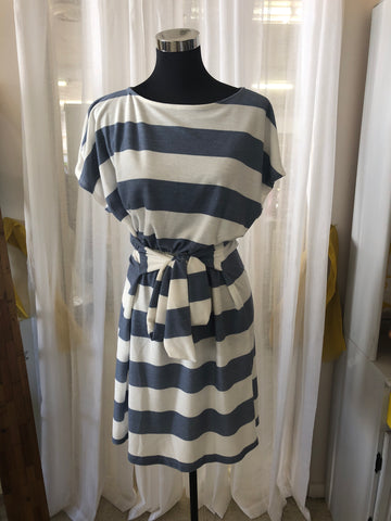 Boat Neck Denim Stripe Dress