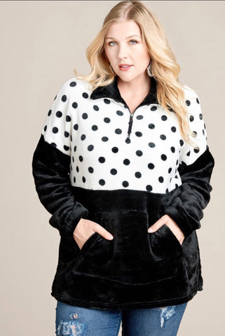 Curvaceous Black Polka Dot Pullover